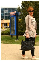 beige BCBG blazer - black balenciaga bag - black D&G glasses - black Zara pants