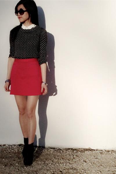 H&M skirt - Vince Camuto boots - Jcrew sweater - Zara shirt