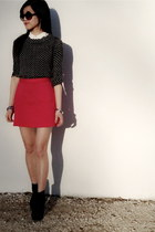 H&M skirt - Vince Camuto boots - Jcrew sweater - Zara shirt