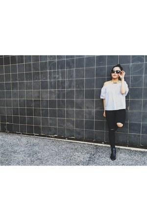 Missguided boots - Topshop jeans - OAK  FORT shirt - Zara sunglasses