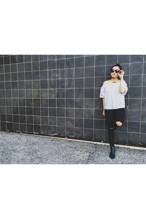 Missguided boots - Topshop jeans - OAK  FORT shirt - Zara sunglasses