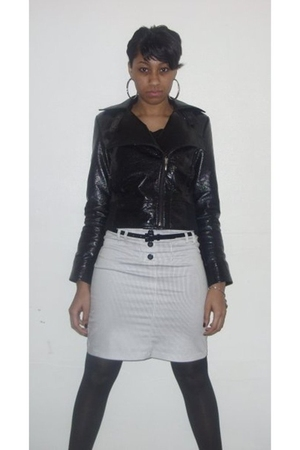 black apt 9 jacket - silver Wet Seal skirt - black Forever21 stockings - black F