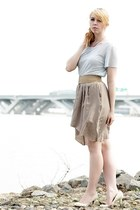 light blue chiffon American Apparel shirt - beige silk skirt