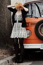 White-lace-urban-outfitters-dress-black-h-m-blazer-black-tights