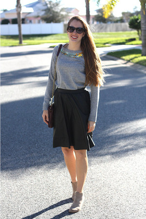black Nordstrom skirt - beige BC footwear shoes - heather gray DIY sweater