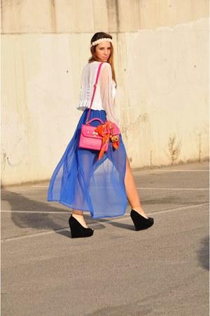 blue Primark skirt - carrot orange H&M scarf - hot pink BLANCO bag