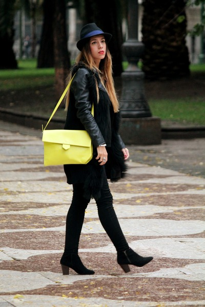 black Primark boots - lime green Zara bag