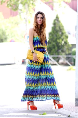 blue Primark dress - mustard Bershka bag