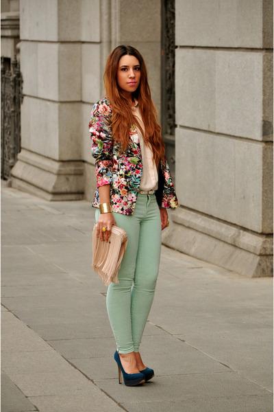 Zara blazer - H&M shirt - peach rmodi bag - Zara pants - Bershka heels