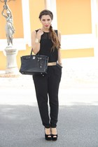 black Hermes bag - black Zara jumper - black Zara belt