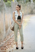 light blue BLANCO vest - dark khaki Oysho pants - black Primark top