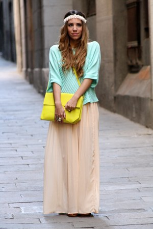 chartreuse Zara bag - light blue BLANCO sweater - Zara skirt
