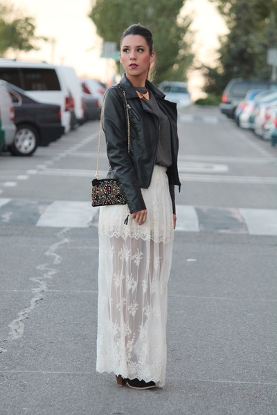 black Zara bag - ivory Zara skirt