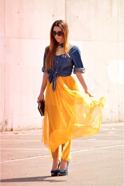 camel rmodi necklace - navy Primark shirt - mustard rmodi shirt