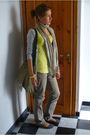 Gray-shoes-gray-h-m-jeans-gold-shirt-silver-zara-cardigan-beige-lancome-