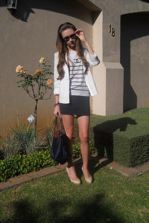 Chanel top - Woolworths blazer - longchamp bag - Ray Ban sunglasses - H&M skirt