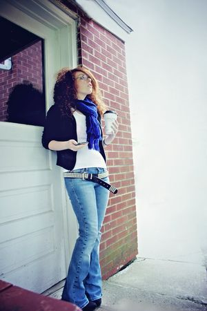 blue hollister jeans - black Forever 21 jacket - black Hot Topic belt