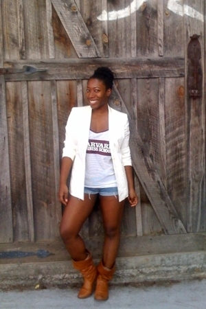 brown boots - white Lord & Taylor blazer - blue jean Ralph Lauren shorts