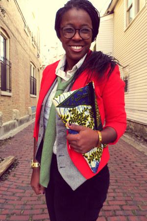 red H&M blazer - lime green tie - eggshell ant print Anthropologie blouse