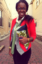 red H&M blazer - lime green tie - eggshell ant print Anthropologie blouse