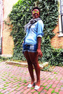 Blue-denim-mink-pink-shorts-light-blue-chambray-zara-blouse