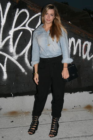 blue Mossimo shirt - black kimchi & blue pants - black Dollhouse - black Chanel