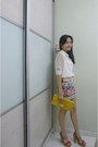 White-sheer-sleeves-mango-shirt-yellow-platinum-mall-bangkok-bag