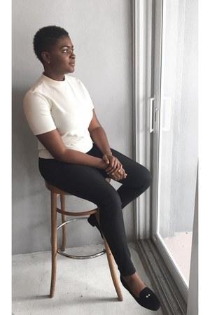 black H&M pants - ivory Forever 21 shirt - black Forever 21 loafers