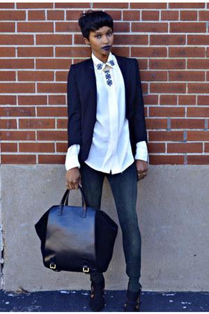 H&M blazer - Zara bag - Guess heels