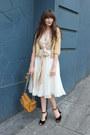 J-crew-bag-thrifted-skirt-thrifted-blouse-zara-cardigan-vintage-heels