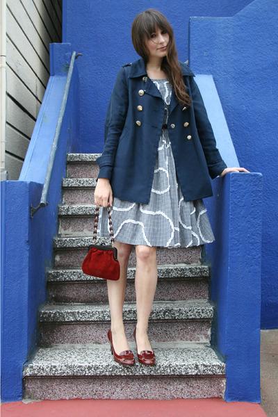 vintage bag - Zara shoes - vintage dress - Marc by Marc Jacobs coat