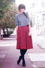 Vintage-cardigan-thrifted-top-vintage-skirt-vintage-ferragamo-shoes