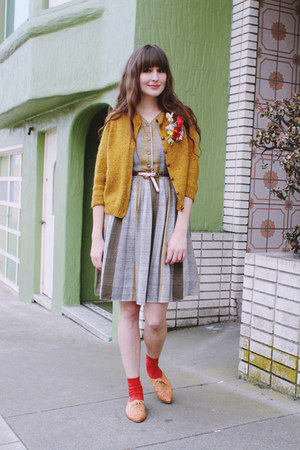 vintage dress - H&M socks - vintage cardigan - vintage flats
