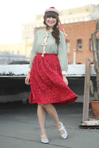 vintage skirt - tic-tac-toes shoes - vintage hat - Pixie Market blouse
