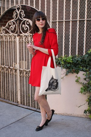 libris lunaria bag - vintage Ferragamo shoes - Zara dress - vintage sunglasses