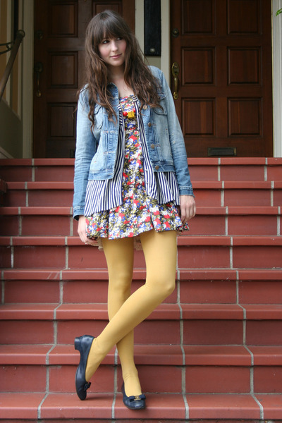 J Crew jacket - vintage Ferragamo shoes - Forever 21 dress