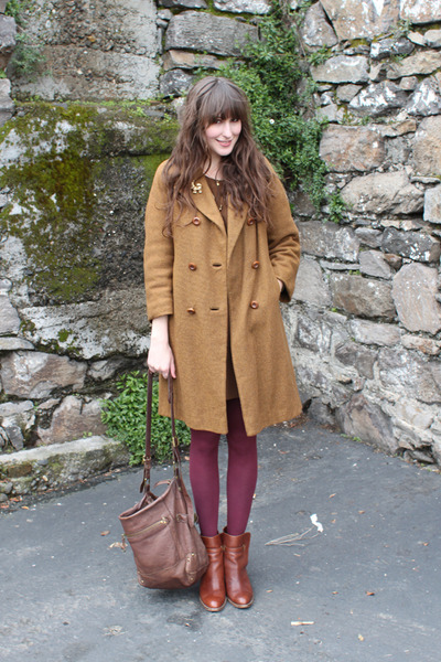 Anthropologie boots - Zara dress - thrifted coat - American Apparel tights - Ant