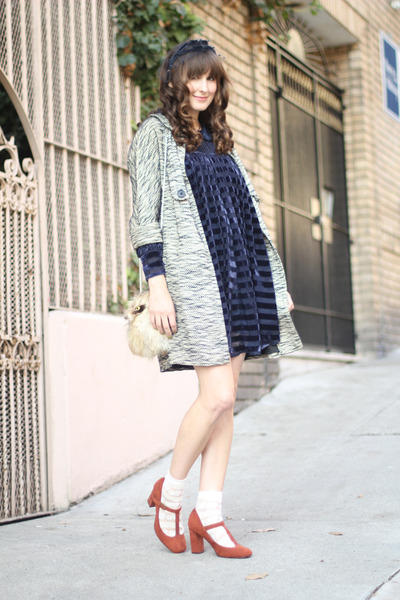 vintage coat - asoscom dress - vintage bag - Urban Outfitters socks