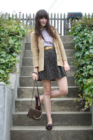 vintage cardigan - Marc by Marc Jacobs blouse - thrifted skirt - Zara purse - th