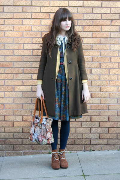 vintage coat - Chie Mihara boots - vintage dress - thrifted bag