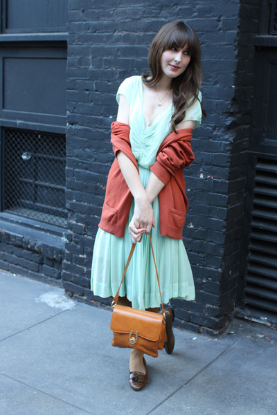 vintage dress - thrifted coat - vintage purse - vintage loafers - thrifted cardi