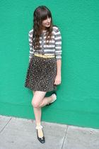 thrifted skirt - vintage Ferragamo shoes - vintage sweater