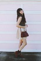 Chie Mihara boots - vintage bag - Lulus skirt - vintage blouse