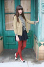 Vintage-cardigan-thrifted-blouse-thrifted-skirt-american-apparel-tights-