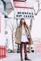 vintage coat - vintage boots - Zara sweater - thrifted skirt - J Crew blouse