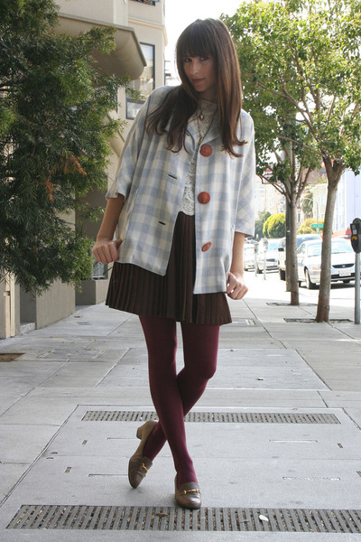 vintage coat - vintage blouse - thrifted skirt - American Apparel tights - thrif