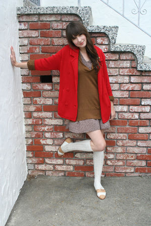 thrifted cardigan - thrifted dress - J Crew sweater - American Apparel socks - t