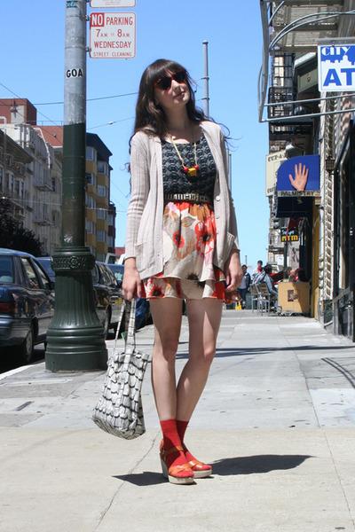 vintage cardigan - vintage top - Anthropologie skirt - J Crew shoes - vintage be