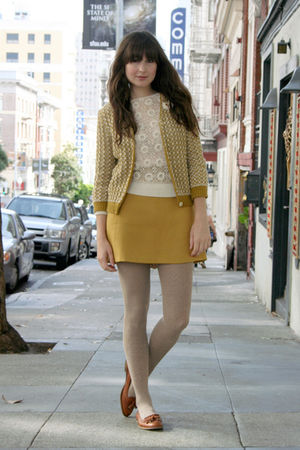 vintage sweater - asoscom shoes - vintage skirt - vintage cardigan