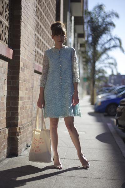 vintage dress - fieldguided bag - fletcher by lyell heels